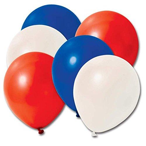 Sachet de 48 Ballons de baudruche tricolores Bleu Blanc Rouge à gonfler à la Bouche, à la Machine ou à l'hélium