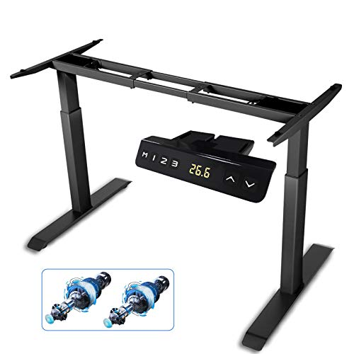 HAIAOJIA Electric Stand up Desk Frame, Dual Motor Load 270lbs Ergonomic Standing Desk Frame 2-Stage Height Adjustable with Memory Controller - Frame Only
