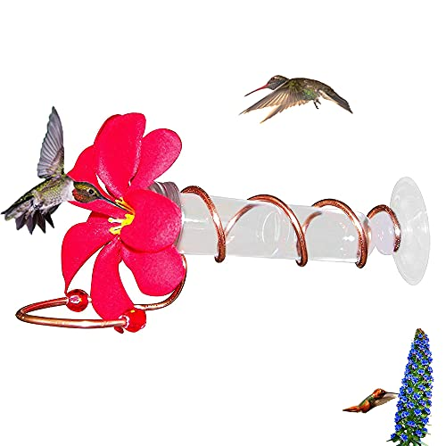 Geranium Flower Copper Window Mount Hummingbird Feeder, Realistic Plumeria Flower, Hummingbird Feeders for Outdoors (1pcs)