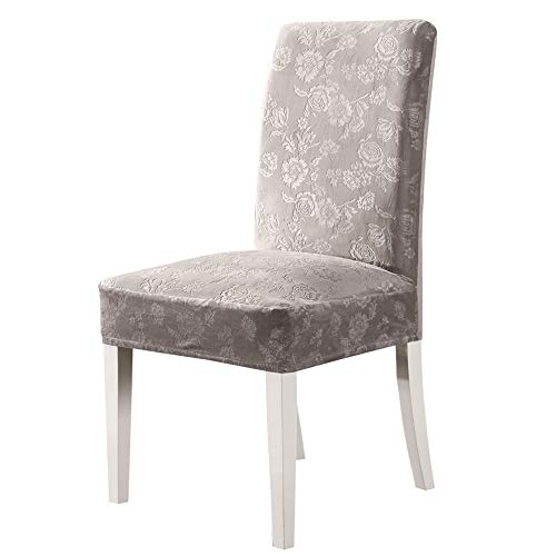 OSVINO Juego de 4 fundas protectoras de silla de jacquard de terciopelo elástico para comedor, cocina, hotel, boda, banquete, fiesta, ceremonia, color gris claro