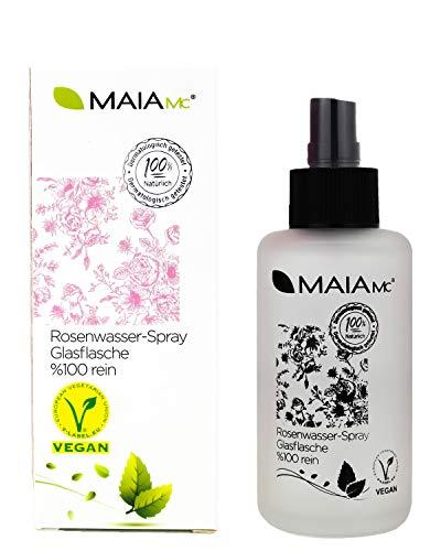 Bio Rosenwasser-Spray in der Glasflasche - 100{7eaa0db79a77912de78438468fab225ea038f028b8ae7599015f39b97cf696cc} rein von MAIA MC - VEGAN - Gesichtswasser 100 ml - MIT Vitamin C - OHNE Zusatzstoffe - Naturkosmetik - gegen Mitesser- unreine Haut - Poren verkleinern