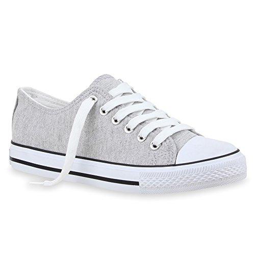stiefelparadies Sportliche Damen Low Sneakers Bequeme Freizeit Schuhe 69819 Hellgrau Agueda 36 Flandell