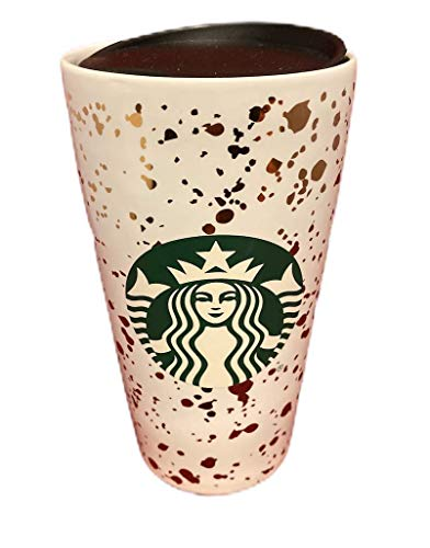 Starbucks 2019 Holiday Confetti Keramik-Becher, 340 ml, Weiß/goldfarben
