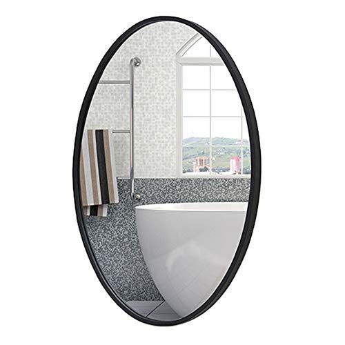 HXLQ Spiegel ovaal voor badkamer, wandspiegel voor kledingkast, spiegel van metaal, voor decoratie van slaapkamer, ingang, verticale en horizontale installatie
