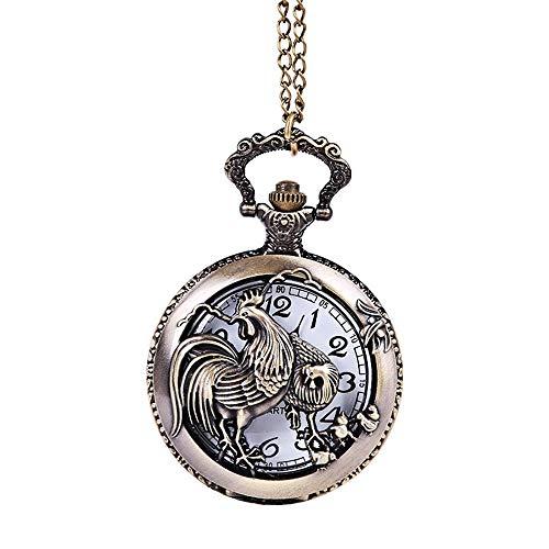 WFDA Reloj de Bolsillo con la Cadena Reloj de Bolsillo de Gallo Grande con carácter en Relieve Hueco de Zodiaco de Bronce Reloj de Bolsillo Grande nostálgico de Pollo