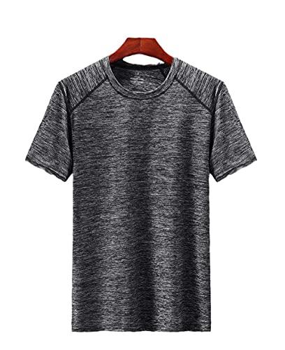 DamaiOpeningcs RáPido para Running Fitness Ejercicio Camiseta,Camiseta de Cuello Redondo de Manga Corta de Hombre seco rápidamente Deportes al Aire Libre de Secado rápido-Gris Oscuro_L