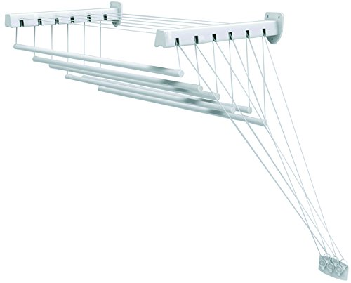 Gimi Lift 140 Tendedero de pared y techo de acero, 8,5 m de longitud de tendido, blanco, metal, exterior