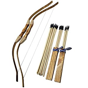 Adult 2-Pack Handmade Wooden Bow and Arrow Set