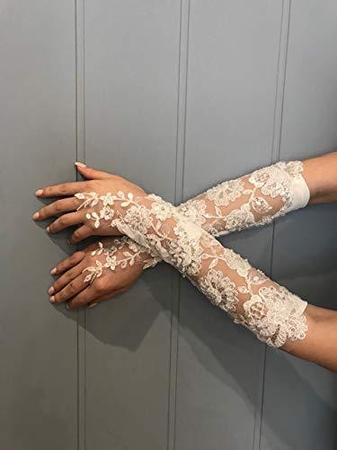 Lange Brauthandschuhe Hochzeit Handschuhe Spitze mit Perlen Glasperlen ivory