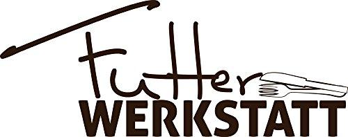 GRAZDesign Küchen Wandtattoo Wand-Spruch Futter Werkstatt - Küche Aufkleber Besteck mit Spruch - Wandtattoo für Küche lustiges Küchen Motiv / 76x30cm / 080 braun