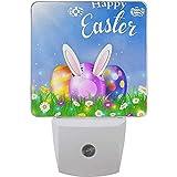 Happy Easter Eggs Flowers Night Light Plug In Set de 2 orejas de conejo Nightlights Auto Lámpara de sensor de anochecer a amanecer