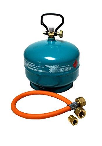Gasflasche Propan Butan Gas 3 kg + Adapter + Umfüllschlauch Aktionsset leer befüllbar