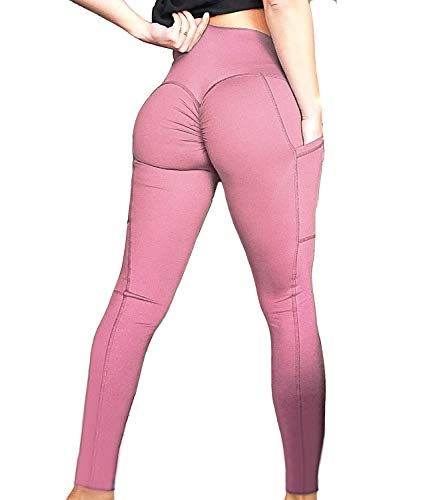 FITTOO Womens Scrunch Yoga Pants Sport Workout Leggings High Waist Tight Side Pocket Pink(M)