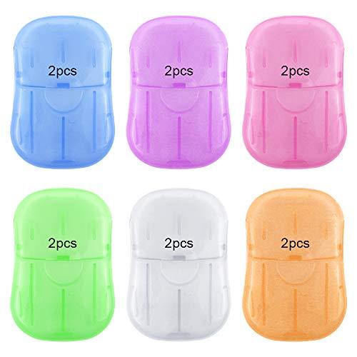 RtottiM 12 Unidades de jabón de Papel desechable portátil Mini Hojas perfumadas con Caja de Almacenamiento Mini Hojas de Papel espumante Copos de jabón
