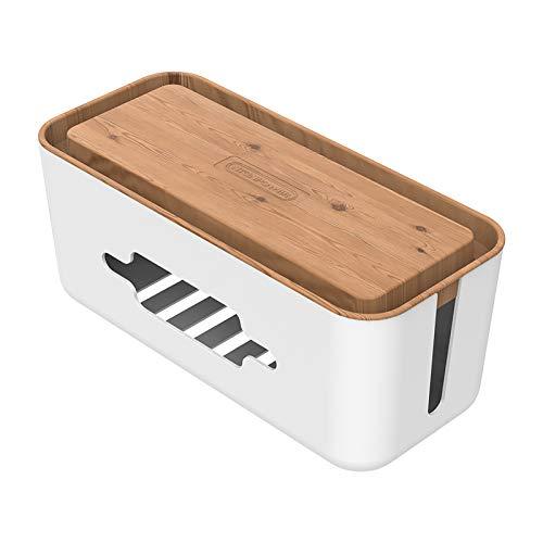 NTONPOWER Kabel-Management-Box, Organizer mit Telefonhalterung, ABS-Material, Holzdruck, 31,8 x 13 x 13 cm, kleine Kabelbox für USB-Hub, Schreibtisch, Steckdosenleiste, TV, Computer, Heimunterhaltung