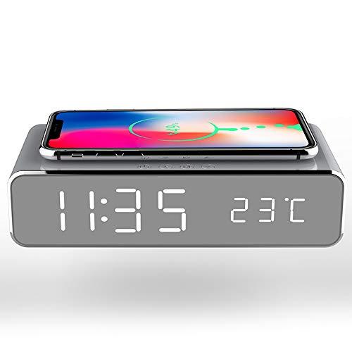 Reloj despertador digital moderno con cargador inalámbrico y termómetro para mesita de noche