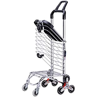 Customer reviews IWTGF Shopping Cart Climbing A Folding Portable Trolley Can Sit Household Carts