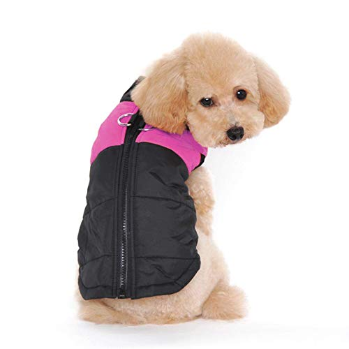 Ducomi® Huisdieren St. Moritz - Comfortabel Gevoerd Dekbed voor Winter Hond Vest met Haak voor Kraag XS roze