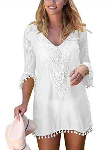 EDOTON Camisolas y Pareos para Mujer, Blusa Vestido Crochet Pom Pom Ajuste Playa Túnica Traje de Baño (L, Blanco)