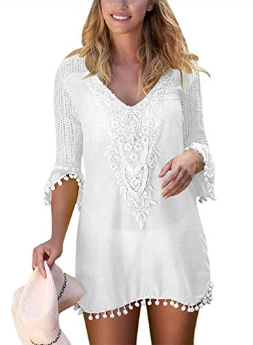 EDOTON Strandkleider, Frauen Bluse Kleid häkeln Pom Pom Trim Strand Tunika Badeanzug (L, Weiß)