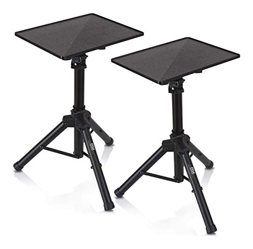 Universal Laptop Projector Tripod Stand - 2 Pcs Computer, Book, DJ Equipment Holder Mount Height Adjustable Up to 35 Inches w/ 14'' x 11'' Plate Size - Perfect for Stage or Studio Use - Pyle PLPTS2X2