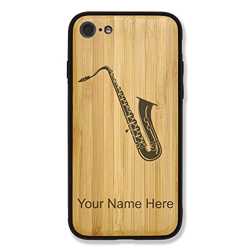 Case Compatible with iPhone 6 and iPhone 6s, Saxophone, Personalized Engraving Included (Bamboo)
