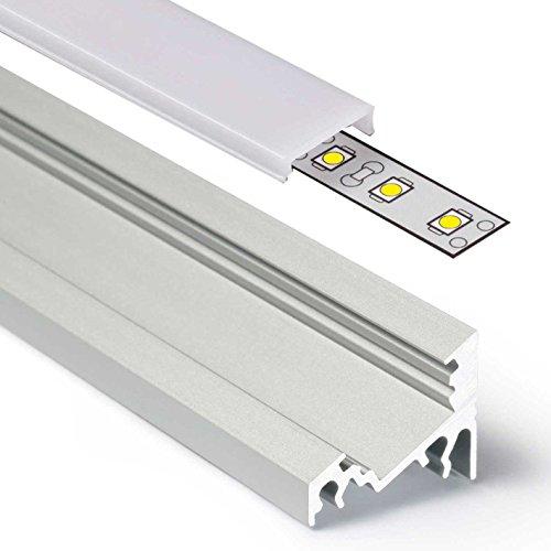 2m Aluprofil CORNER (CO) Ecke 2 Meter Aluminium Profil-Leiste eloxiert für LED Streifen - Set inkl Abdeckung-Schiene milchig-weiß opal mit Montage-Klammern und Endkappen (2 Meter milchig click)