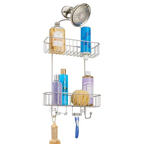mDesign Metal Bathroom Tub & Shower Caddy, Hanging Storage Organizer Center with Built-in Hooks and Baskets on 2 Levels for Shampoo, Body Wash, Loofahs - Rust Resistant - Satin