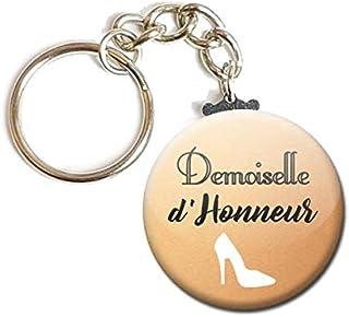 Porte Clés Chaînette 3,8 centimètres Demoiselle d' Honneur Idée Cadeau Accessoire Accessoire Mariage Evjf Fond Crème