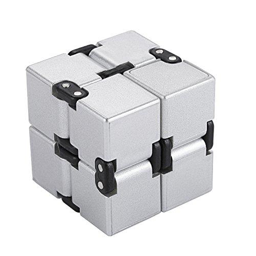 Funxim Infinity Cube, Unendlicher Würfel Spielzeug, Magic Unendlicher Flip Würfel Dekompression Spielzeug, Tötungs Zeit Zappeln Spielwaren Stressabbau Würfel (Silber)