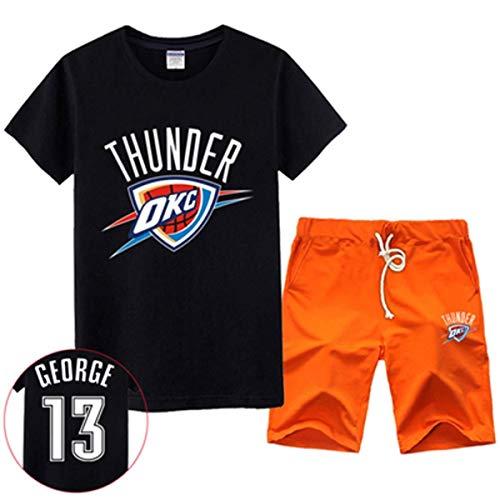 LLSDLS Camiseta NBA Set de Hombre Thunder Basketball Sweatshirt OKC # 0 Paul/George Jersey de Manga Corta Set Red-5-XL Camiseta (Color : Black-5, Size : XXXXL)