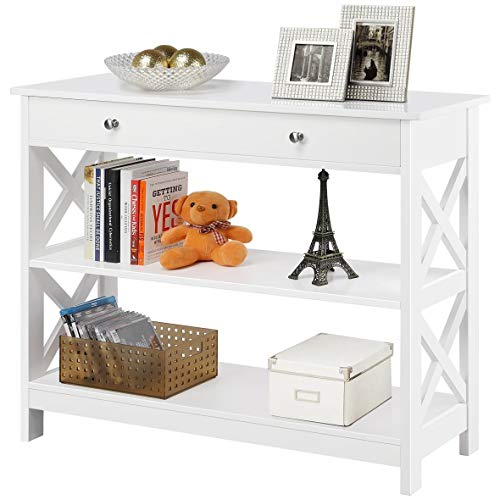 YAHEETECH 3 Tier Sofa and Console Table with Storage Shelf & Drawer - Classic X Design Display Rack Bookshelf for Living Room Entryway Hallway, White