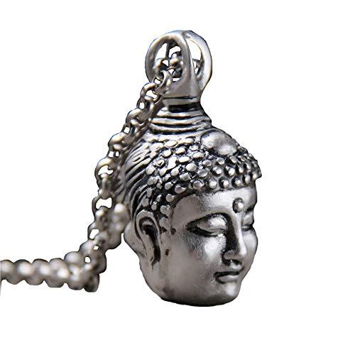 MKHDD Amuletos budistas de Plata esterlina 925 Shakyamuni Buda Cabeza
