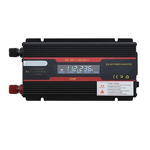 KKmoon Intelligenter Spannungswandler 2000W-24V auf 220V KFZ Wechselrichter Solar Power Car Inverter Modifizierter Sinus-Konverter mit LCD-Display für Geschaeftsfahrten und Urlaub