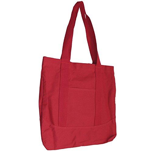Shopper Tasche - Canvas Stoff Beutel - Einkaufstasche für kleinere Einkäufe - Tragetasche rot
