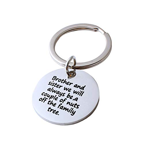 Malinmay Cute Gifts For Best Friends, Round Tag Engraved 'Brother and sister we will' Stainless Steel Keychain For Couples Friends Gifts