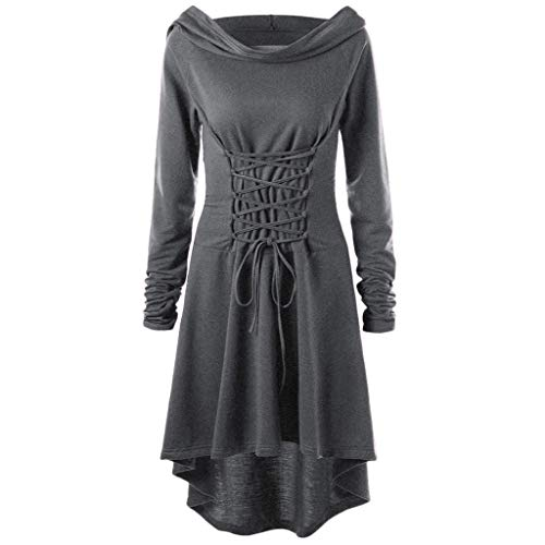 Lazzboy Hooded Vintage Pullover High Low Bandage Long Dress Cloak Retro Kleid Kapuze Damen Frauen Lange Mittelalter Renaissance Halloween Party Kostüm Kleider(Grau,S)