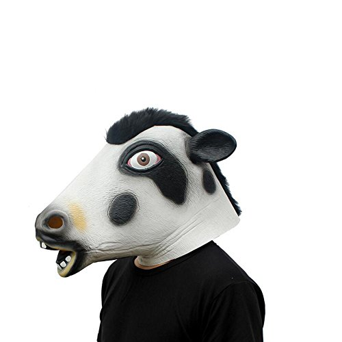 Monbedos lattice animale maschera testa di mucca da latte maschera testa maschera per Halloween Cosplay Party costume Fancy Dress