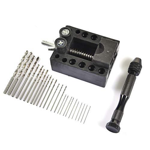 daorier Pr/äzision Pin Holzbearbeitung Vise Handbohrer mit Mini Twist Bohrer Rotary Tools Set von 11
