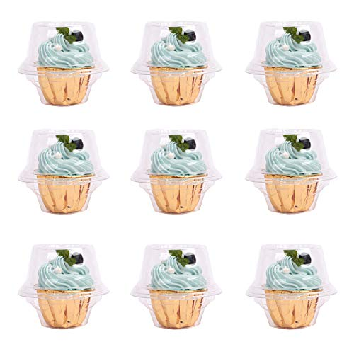 CLAUTOP Individual Cupcake Containers, Cupcake Boxes 100 Packs Single Compartment Cupcake Carrier Holder Stackable Deep Dome Clear Plastic Disposable Cake Storage(100)
