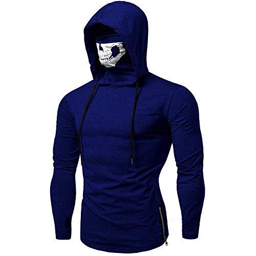 Xmiral Mens Pullover Gesichtsschal Skull Pure Color Langarm-Kapuzenpulli Tops zum Karneval(L,C-Blau)
