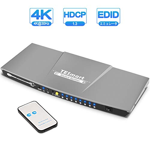 HDMI スイッチ 2入力8出力 HDMI切り替え分配器 2x8 HDMI切替分配器 HDMI セレクター 8画面同時出力 4K 30Hz HDMI Switch Splitter 2K 3D映像 HDCP1.3 EDID認識対応 XBOX360 HDTV