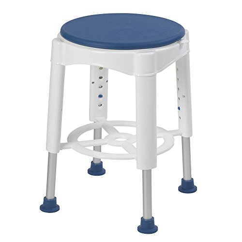 Drive Medical Bath Stool With Padded Rotating Seat, White with Blue Seat