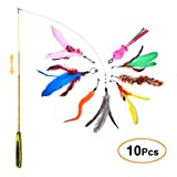 FYNIGO Cat Feather Toys,Interactive Retractable Cat Teaser Wand with 8 Refills and a Spare Hook
