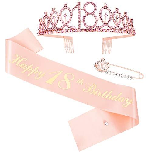Veraing 18. Geburtstags-Krone Schärpe, Roségold 18 Geburtstag Schärpe Happy 18 Birthday Schärpe für Frauen Birthday Crown Prinzessin Haar-Zusätze für Party...