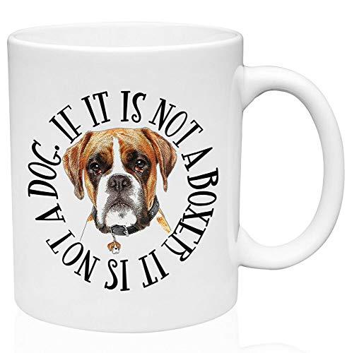 Divertida taza de café, diseño de perro boxeador circular, 325 ml, cerámica de alta calidad, taza de café o té