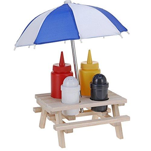 JEMIDI Picknicktisch Menage Set Gewürzständer Grill Tisch Ketchup Senf Pfeffer Salz Salzständer Spender Hot Dog