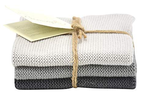Solwang 3-Piece Danish Organic Cotton Dishcloths in 100 GOTS Certified DISHCLOTHS Made in India Steel Grey Organic Combi