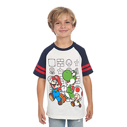 Nintendo Boys' Super Mario Characters T-Shirt, Tees for Kids, Little Boys and Big Boys White