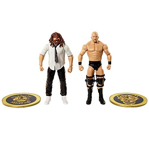 WWE Campeonato Pack 2 figuras de acción luchadores Mankind vs Steve Austin 'Stone Cold' con accesorios, juguete niños +6 años (Mattel GVJ23)